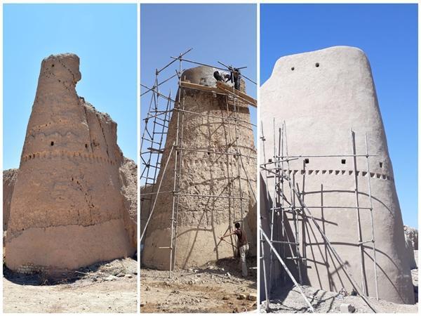 اتمام مرحله نخست مرمت برج و باروی شهر بسطام و سبک سازی بام مسجد ایلخانی