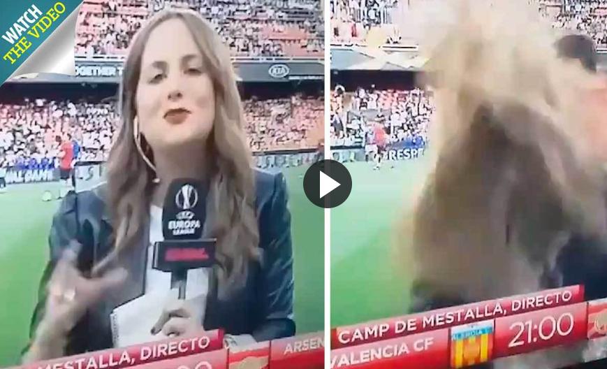 اتفاقی غیرمنتظره برای خبرنگار زن در ورزشگاه فوتبال!
